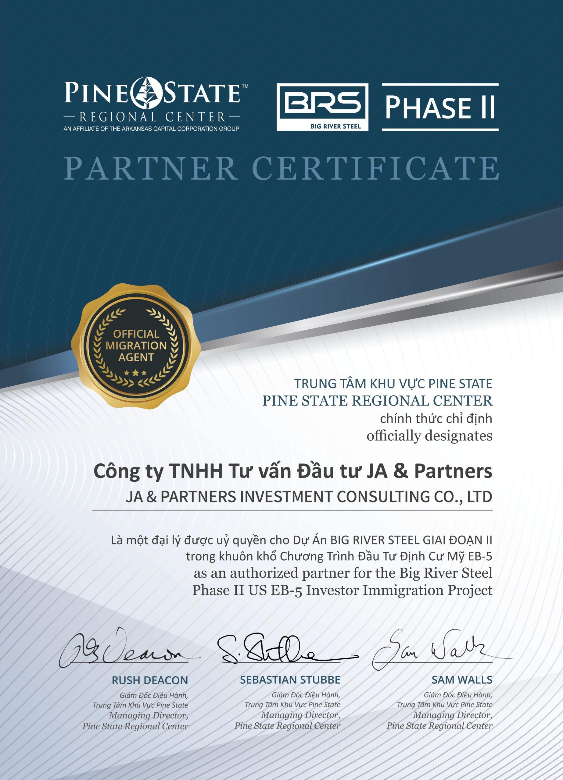 Partnership Certificate_JA & Partners 02 2020